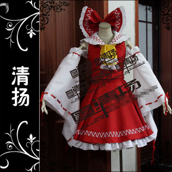 The Touhou Project Hakurei Reimu Uniforms Cosplay Costume Unisex Custom Made Free Shipping A
