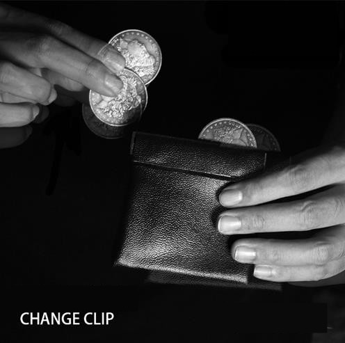Free Shipping! Change Clip / coin wallet leather black (9cm*8.5cm) / magician accessories Morgan Dollar protection Master Magic
