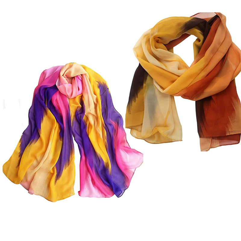 Women Fashion Chinese Ink Style Soft Chiffon   Scarf     Wrap   Patchwork Color Orange Purple Color