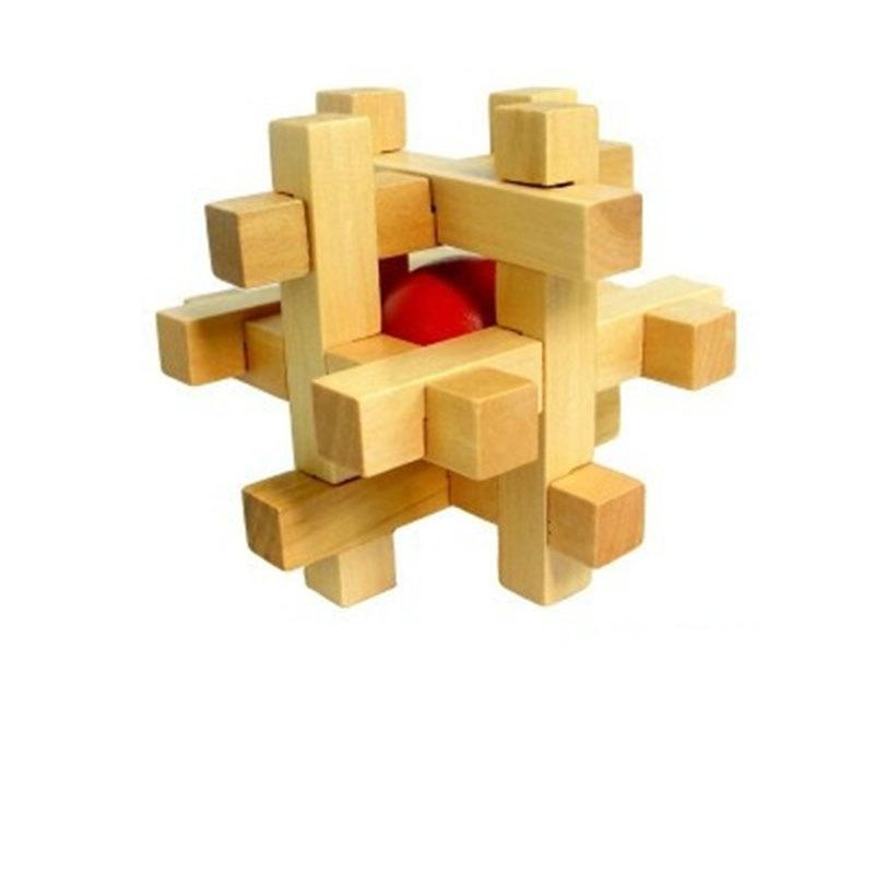 Nové kvalitní módní dospělé puzzle hračka had kostka dřevěné mozku teaser vyjmout červenou kouli US01