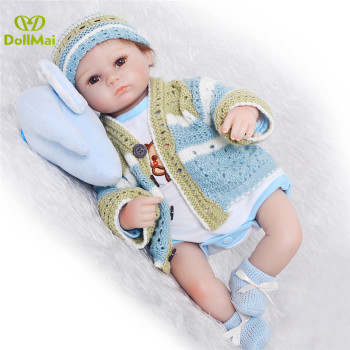 "Silicone reborn babies for girl, lifelike 18"" bebe reborn baby doll with   knitting clothes boneca brinquedos toys for children"
