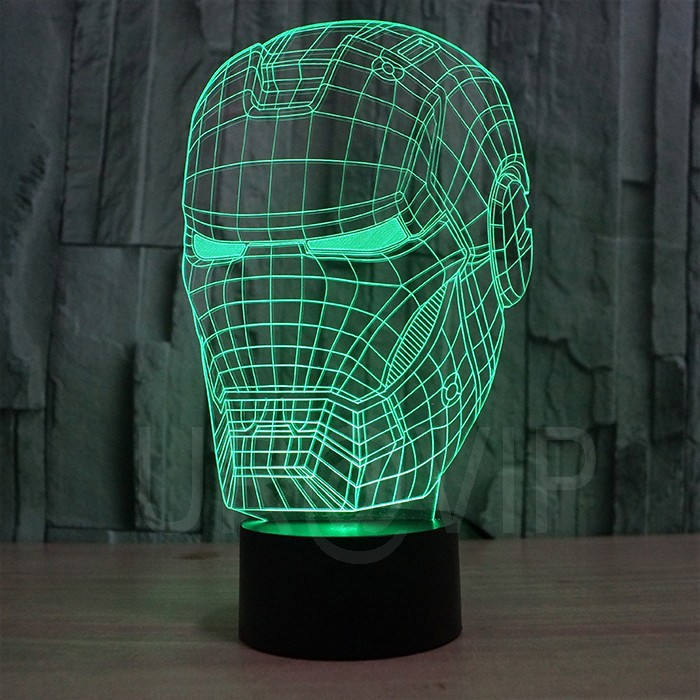 JC-2822 3D illusion iron man mask shape LED table lamp as gift free shipping  (6)