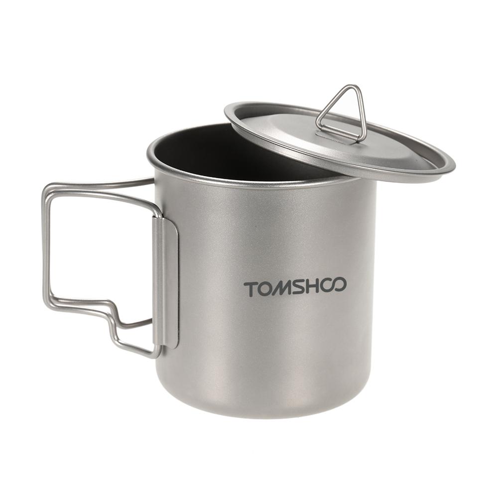 Prix pour Extérieure portable camping pique-nique tasse d'eau durable résistant à la chaleur 420 ml titanium tasse d'eau camping tasse avec couvercle