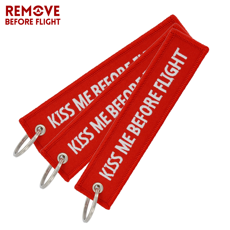 3 PCS/LOT Kiss Me Before Flight Key Chain Label Red Embroidery Key Ring Luggage Tag Chain For Aviation Gifts Car Keychain Women