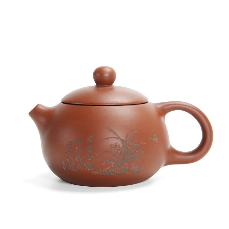 Carved flowers purple clay teapot ore purple sand tea set Handmade kettle kung fu teapot Chinese craft master teapot 175ml