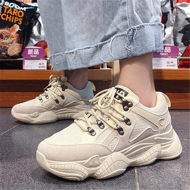 Casual Schoenen Vrouwen Chunky Sneakers Mode Papa Schoenen Voor Vrouwen Lente Herfst Wit Zwart Schoenen Chunky Sneaker Vulcaniseer Schoenen