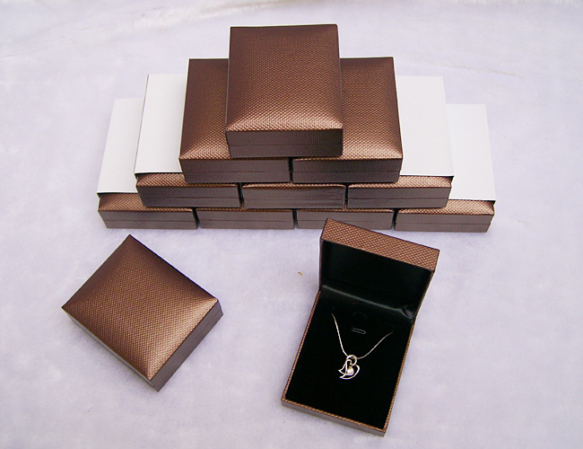 Free Shipping Wholesale 24 pcs/lot Jewelry Pendant and Earring Box Brown Leatherette Velvet Inside Gift Box 2 1/2 3 1/8*1