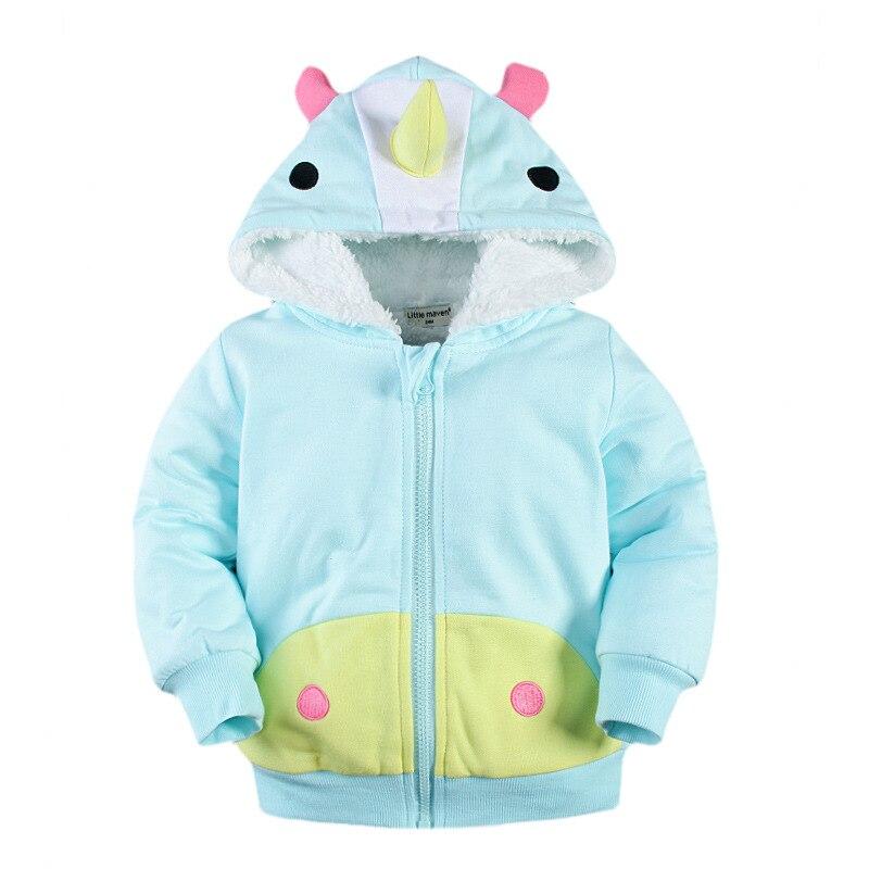 Little Maven New Winter Girls Warm Cute Cartoon Sherpa Cotton Hooded Children Coat Kids Outwear