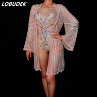 Nightclub Lady Singer DJ Dance Wear Sexy Perspective Mesh Crystals Bodysuit Cloak Stage Outfit Model Catwalk Party Show Costume