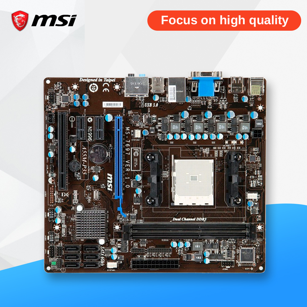 MSI A55M-P35 Original Used Desktop Motherboard A55 Socket FM1 DDR3 SATA2 USB2.0 Micro ATX msi p41 c31 original used desktop motherboard p41 socket lga 775 ddr3 4g sata2 usb2 0 atx