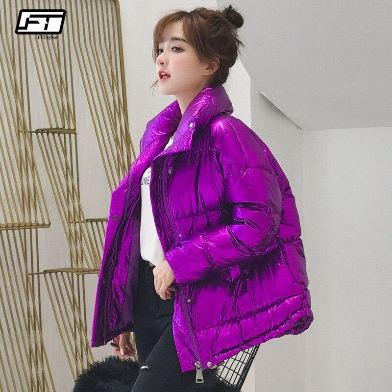 Fitaylor для женщин зимние куртки короткие серебристого металла теплое пуховое пальто 2018 ультра легкий дамы подпушка мужские парки
