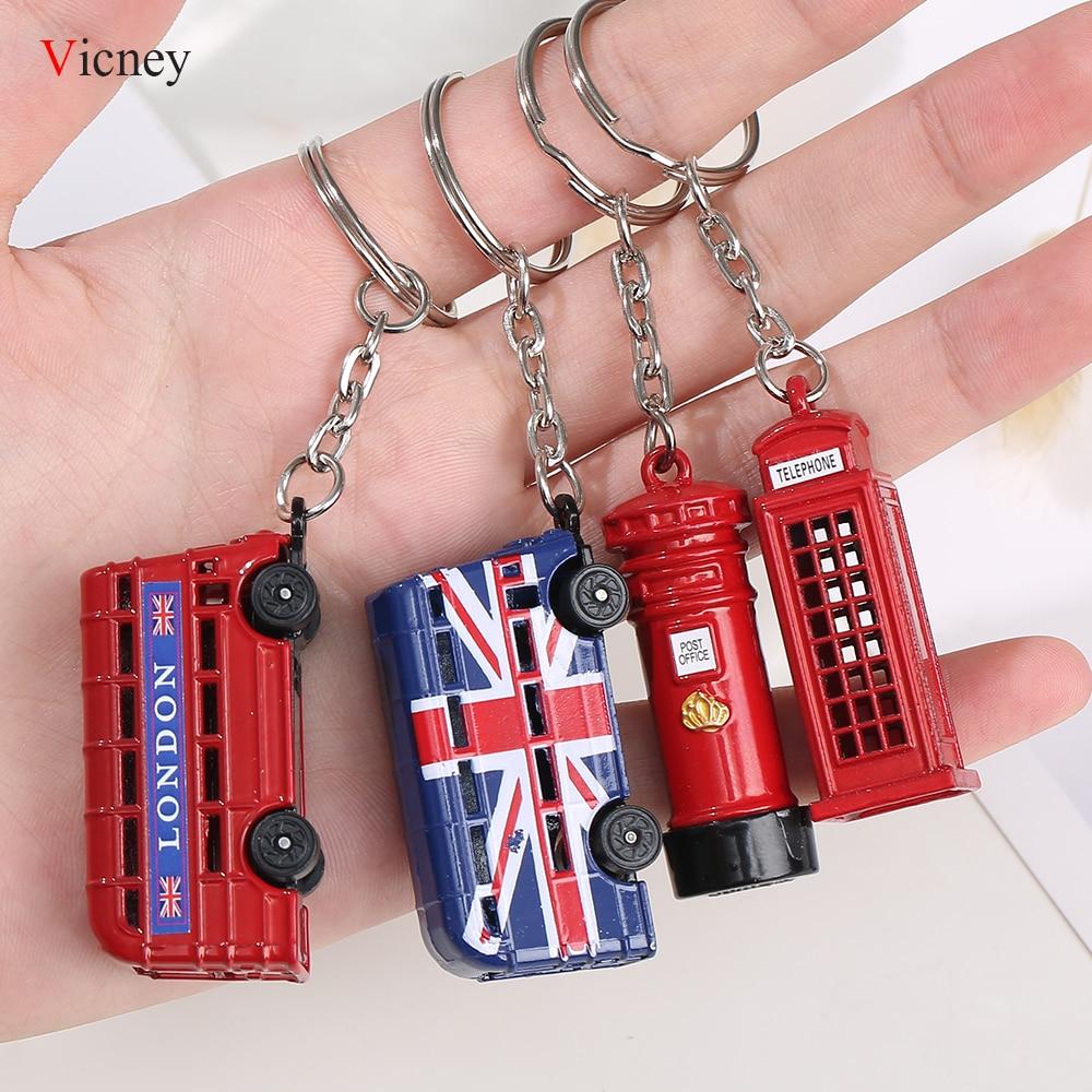 Лондон в красном и синем цветах Ключевые Организатор почтовый ящик брелок для ключей ключ кулон брелок Сувенир подарки для Для мужчин брелок для ключей кольцо для ключей
