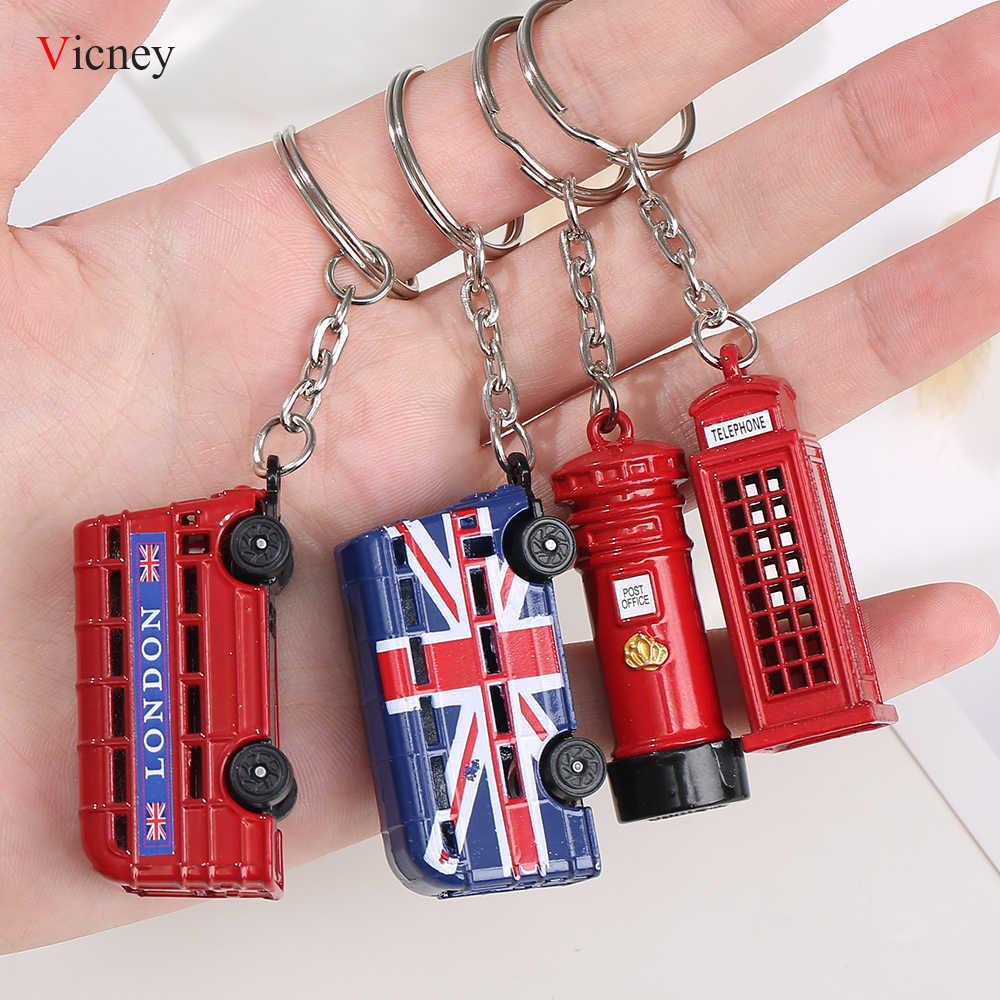 Londyn czerwony i niebieski autobus klucz organizator skrzynka pocztowa klucz uchwyt klucz brelok do kluczy z ozdobą prezenty pamiątkowe dla breloczek dla mężczyzn klucz pierścień breloczek