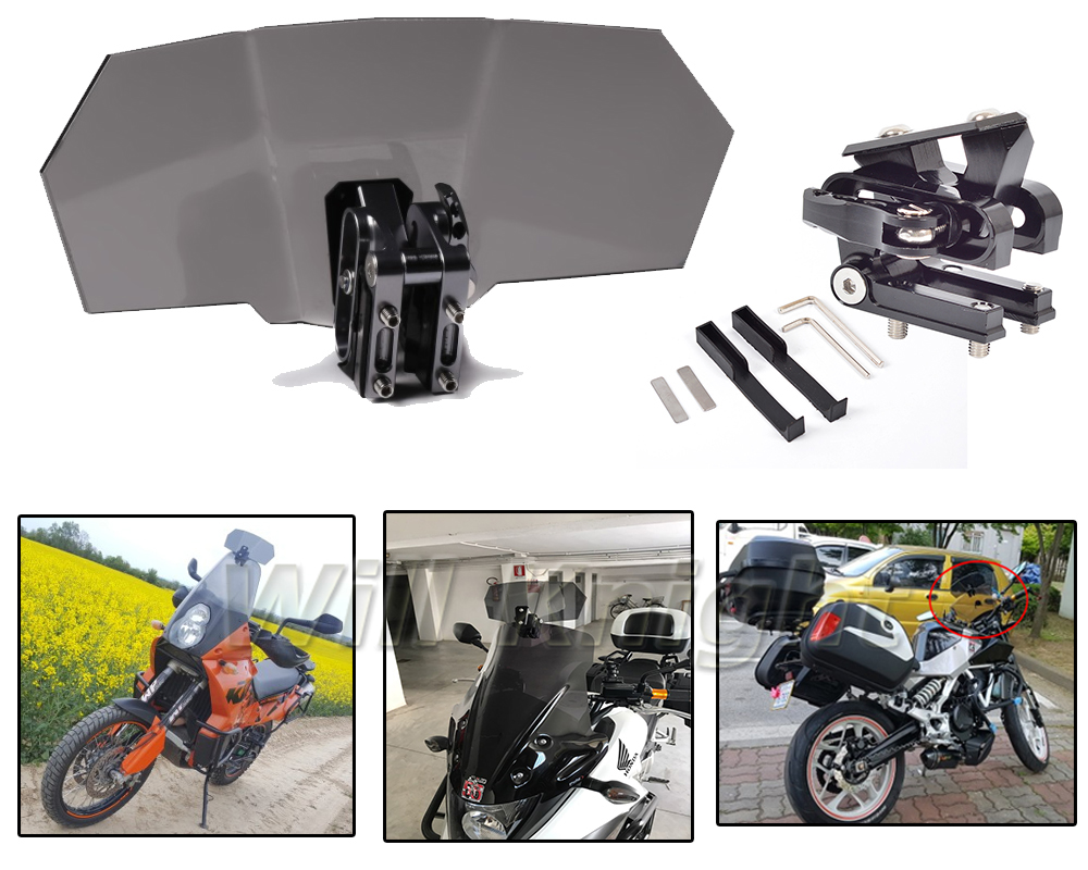 Motorcycle Risen Smoke Windshield Bracket Set Screen Protector Adjustable Lockable for BMW Kawasaki Suzuki Honda Harley