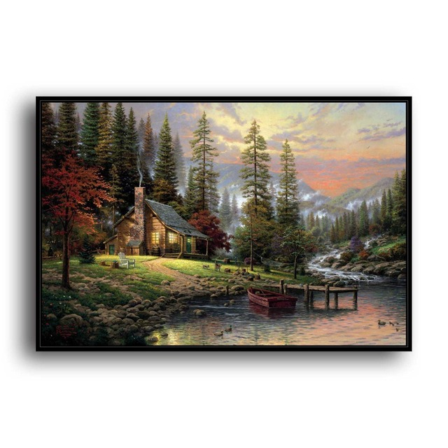 Us 7 35 30 Off H1125 Thomas Kinkade A Peaceful Retreat Hd Canvas Print Home Decoration Living Room Bedroom Wall Pictures Art Scenery Painting In