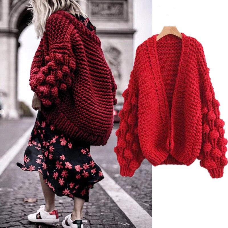 Nuevo cárdigan a la moda 2018 para mujer primavera manga larga jersey tejido invierno 2018 rojo para mujer cárdigan