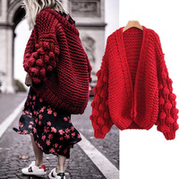 Warm Knit Sweater Cardigan Women Long Sleeve Cashmere Knitted Sweater Women Winter 2019 Red Tops jumpers Ladies Cardigans