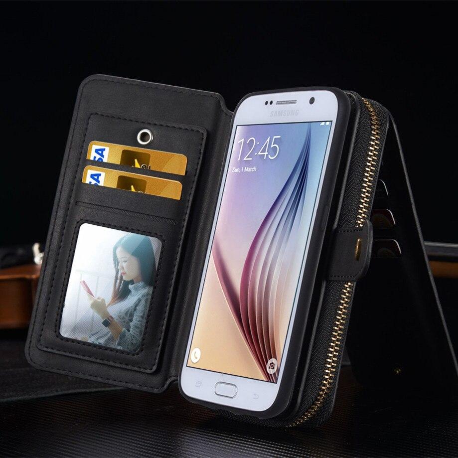 Couqe S6 S7 edge Luxury Phone Bag For Samsung Galaxy S7 edge S6 edge Plus S5 S4 & Note 5 4 Phone Case Retro Portable Bag Etui