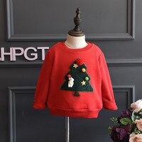 Amuybeen Girls T Shirt 2017 Autumn Winter Brand Baby Girls Cute Christmas Tree Shirts Children Clothing Blouse Kids Costume