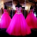 2017 vestido de debutante fuchsia Ball Vestido Prom vestidos Vestido formal com beading vestidos de 15 anos