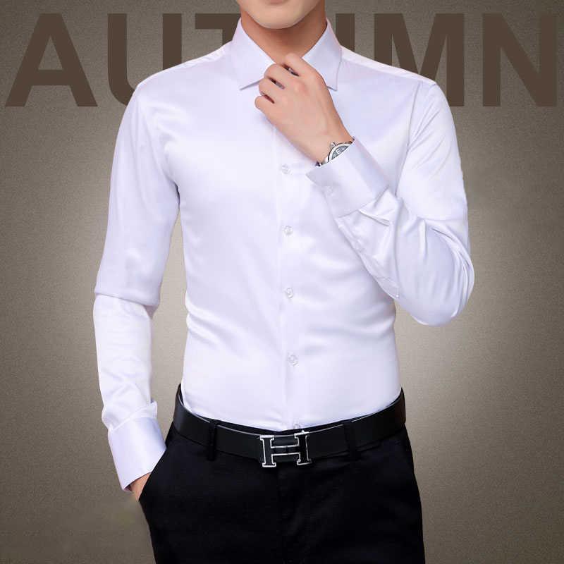 プラスサイズ 5XL 2019 新メンズ高級シャツ結婚式パーティードレス長袖シャツシルクタキシードシャツ男性シルケット綿シャツ