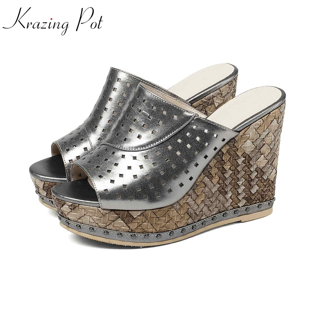 Krazing Pot 2018 natural leather fashion summer peep toe platform mules strange high heels metal rivet women wedges sandals L7f4 krazing pot shoes women full grain leather mules hollywood peep toe metal chain decorations sandals summer outside slippers l88