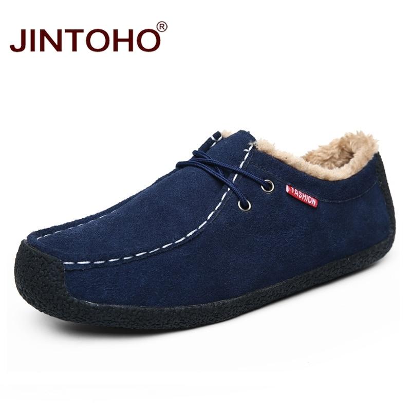 JINTOHO Shoes Genuine-Leather Moccasins Casual Fashion Brand Winter Plush Male Men