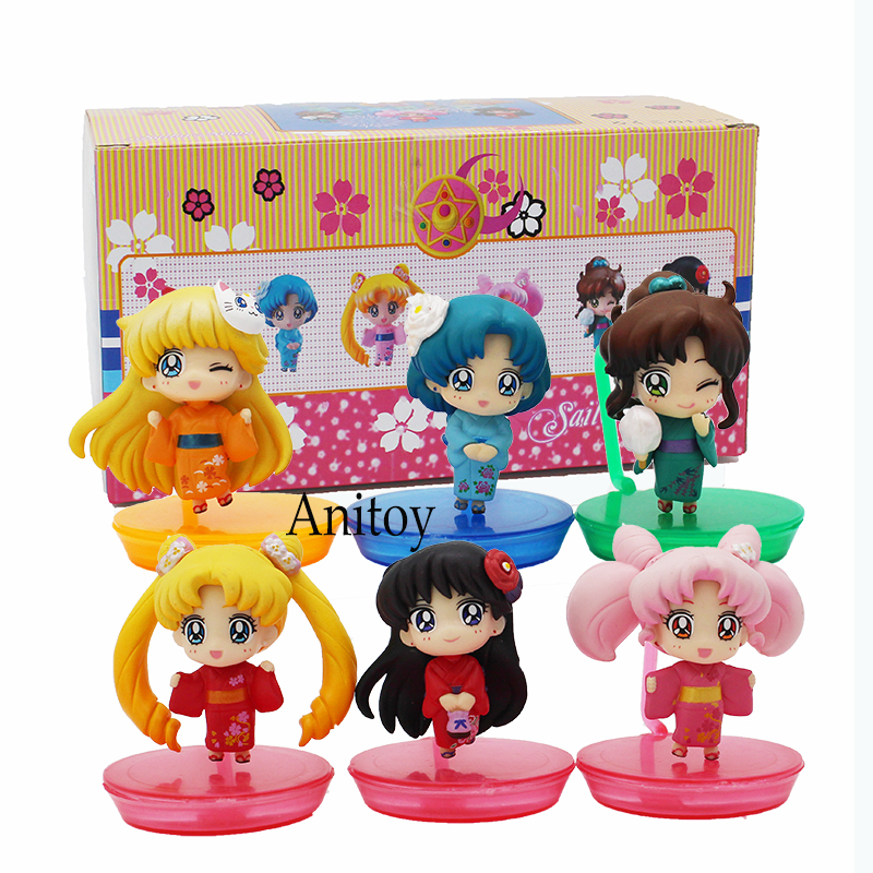6pcs/set Sailor Moon Tsukino Usagi Mercury Sailor Mar 20th Anniversary Kimono Ver. PVC Figure Collectible Model Toy 6cm KT4177