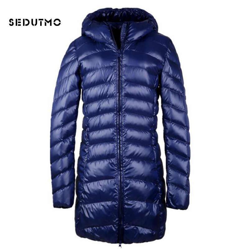 SEDUTMO 2018 Весенние длинные ультра легкие женские куртки плюс размер 3XL утиный пуховик Куртка-пуховик тонкое пальто с капюшоном ED125