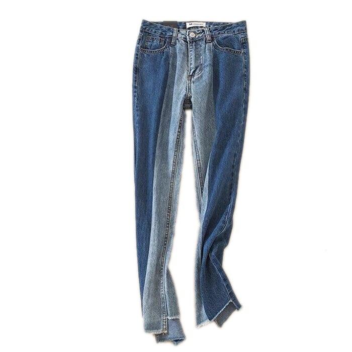ФОТО Europe street shooting runway fun color irregular hem high waisted jeans double color flash patchwork pants nine