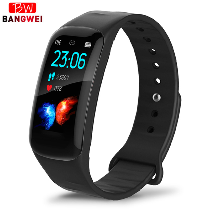 LIGE Smart Sport Bracelet LED Color Screen Clock Heart Rate Blood Pressure oxygen Sleep Monitor Pedometer Watches For IOSAndroid in Smart Wristbands from Consumer Electronics