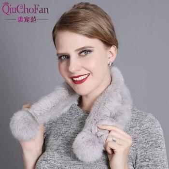 Bufanda de pelo de conejo, bufandas de tubo para mujer, piel de conejo Rex, Cuello de piel auténtica, anillo multicolor, bufanda rusa de Invierno 2017 para mujer