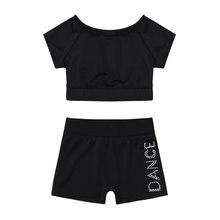 9a520931d 2 piezas niños danza Jazz traje de las niñas de manga corta Camiseta y  pantalones niños ropa deportiva Ballet Tankini de ropa de.