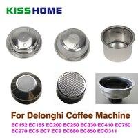 القهوة 51 مللي متر واحدة/مزدوجة الطبقات سلة المرشح ل Delonghi ماكينة القهوة وعاء مسحوق العالمي شبه التلقائي القهوة ملحق