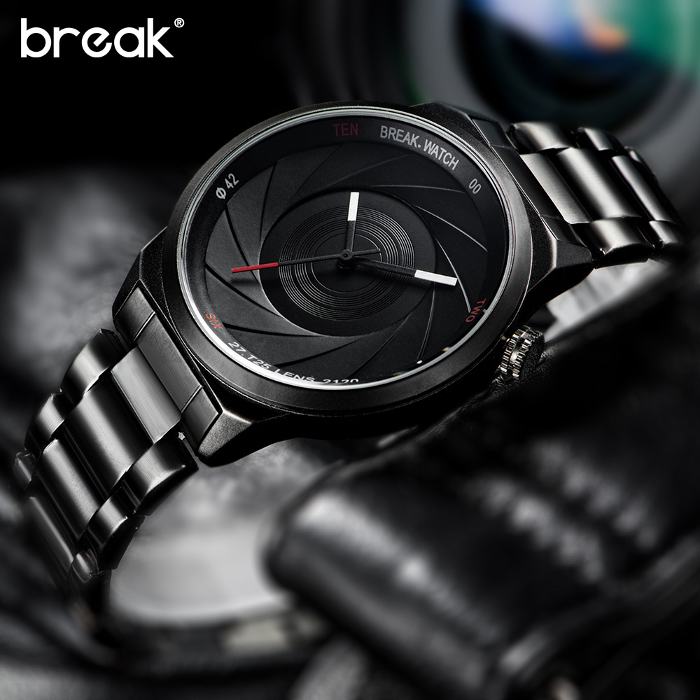 BREAK men brand luxury unique casual fashion sport rubber band photographer series quartz watches creative gift clock for women break photographer series unique camera style stainless strap men women casual fashion sport quartz modern gift wrist watches