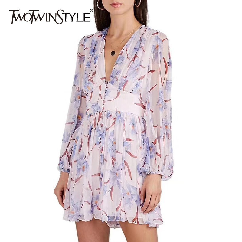 TWOTWINSTYLE Summer Print Playsuit For Women V Neck Lantern Sleeve High Waist Big Size Beach Shorts Female Fashion 2019 New