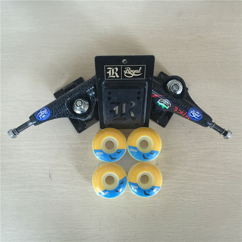 Quality Skateboard Parts Royal MIKEMO 5.25skateboard trucks  &51m 52mm brand mixed Skateboard Wheels Plus Royal Riser Pads