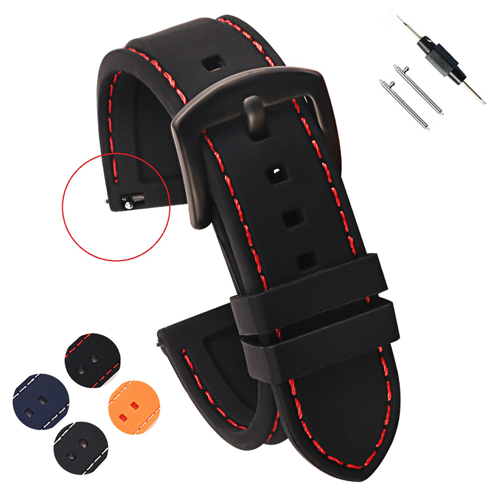 18/20/22/24mm Soft Rubber Silicone Watchbands Diver Watch Band with Quick Release Spring Bars Watch Strap Black Blue Red Orange