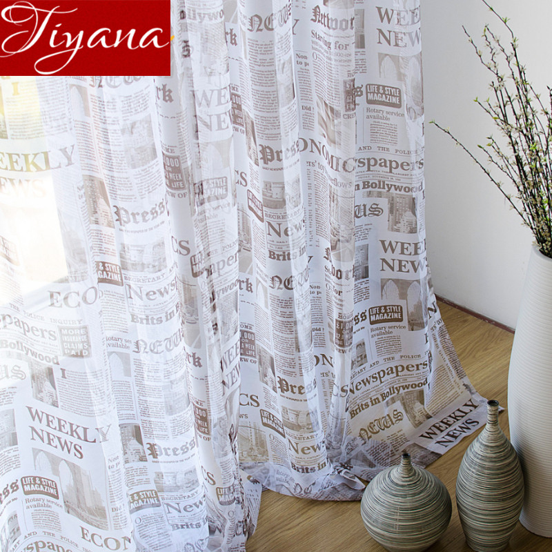 English Newspapers Printed Voile Windows Screen Yarn Panel For Modern Simple Living Room Kitchen Curtains Cloth Tulle T&227 #20
