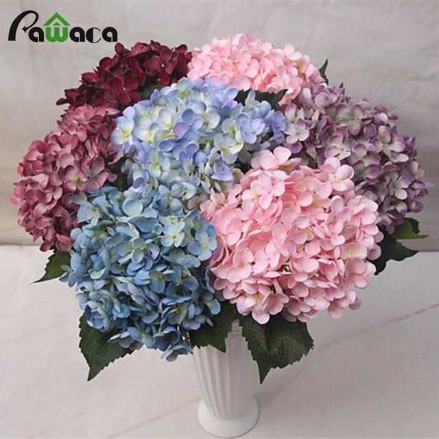 Wedding Artificial Flower Bouquet Home Weeding Party Real Touch Hydrangea Rose Diy Decor Silk