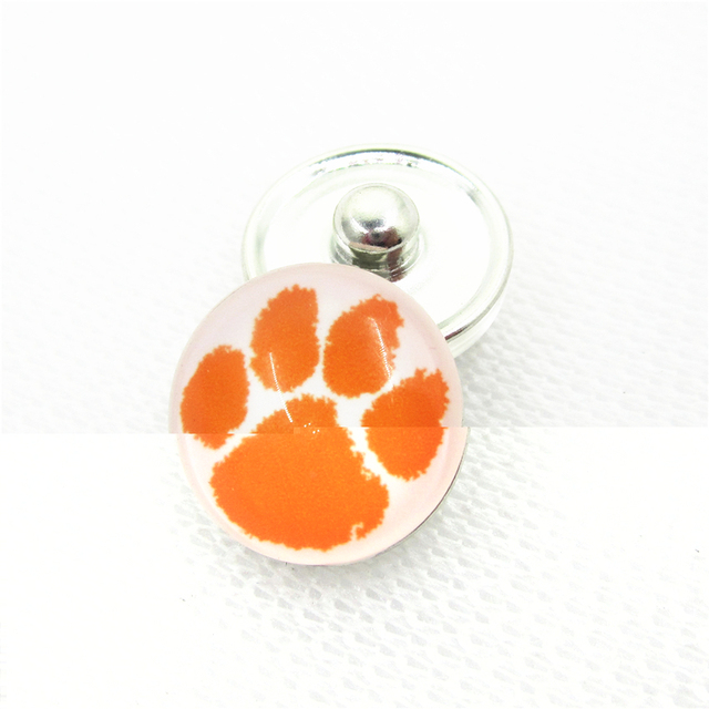20pcs/lot Clemson University USA Teams Snap Buttons DIY 18mm Glass Sports Snap buttons Charms Jewelry Bracelets&Bangles