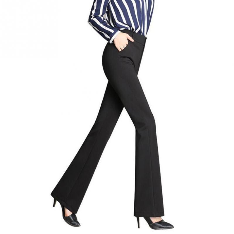 Women Pants Bell-bottom Flares Loose All Match High Waist Ultra Elastic Long Trousers