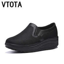VTOTA Women Sneakers Wedges Platform Air Mesh Spring Summer Caasual Shoes Female Zapatos Mujer Slip On Shoes For Women H41 2018 summer women sport shoes casual air mesh breathable shoes flat platform shoes for women slip on sneakers zapatos mujer