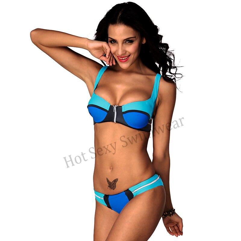 Women push up bikini set Zip Decor 4 Color Block Sexy ...