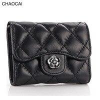 Fashion Women Sheepskin Wallet Mini Short Purse Famale Diamond Pattern Small Wallet Genuine Leather Money Clips
