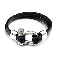 Hip Mens Bracelets Stainless Steel Screw Shackles Black Leather Bracelet Surf Nautical Sailor Men Wristband Fashion Jewelry