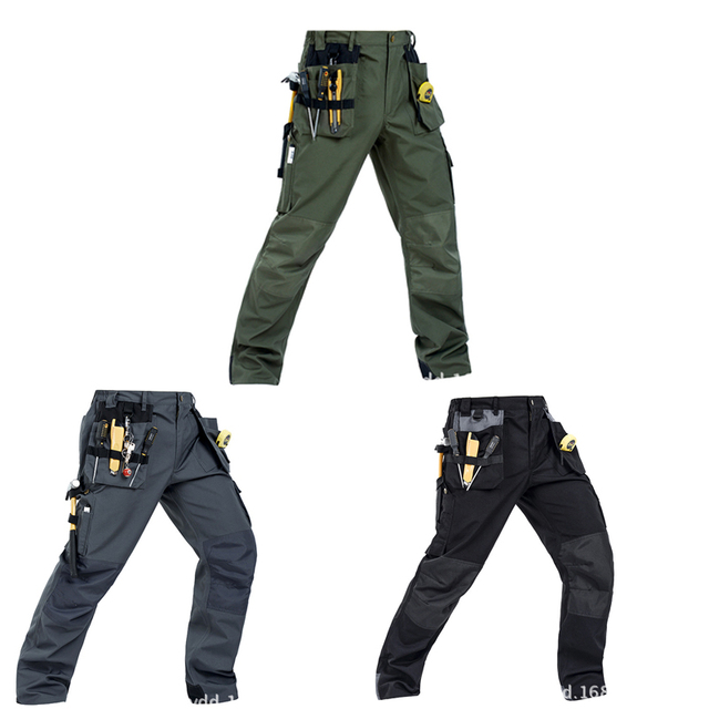 2018 Working Pants Multi-Pockets Wear-Resistant Worker Mechanic Cargo Pants Work Wear Trousers High Quality Machine Repair Pants 2