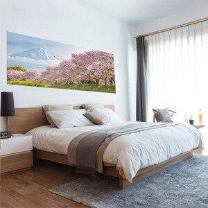 Image 2 - Japonia Mountain Cherry Bossoms Tree Floral sceneria naklejka ścienna naklejka do sypialni dekoracja samoprzylepna wodoodporna domowa dekoracja ścienna