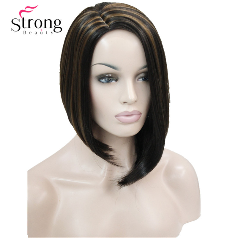 Short Side Part No Bang Brown Highlighted Bob Full Synthetic Costume/Party Wig COLOUR CHOICES