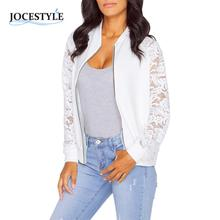 Womens Crochet Lace Bomber Jacket Long Sleeve Zipper Coat Tops Casual Stand Collar Slim Fit Outerwear Plus Size Black White